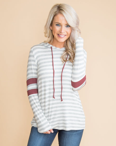How You Handle It Stripe Color-Block Hoodie - Grey