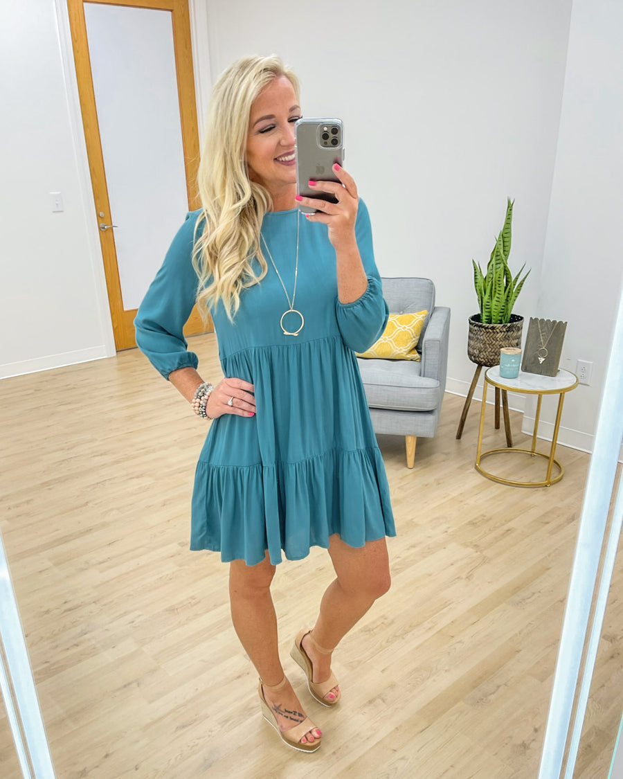 Picture Perfect Moments Dress - Teal