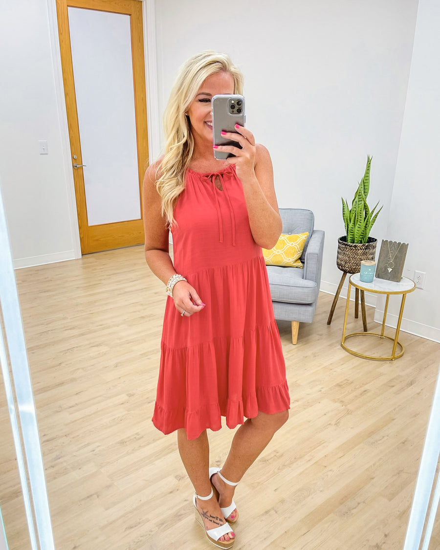 Here To Inspire Dress - Coral Red