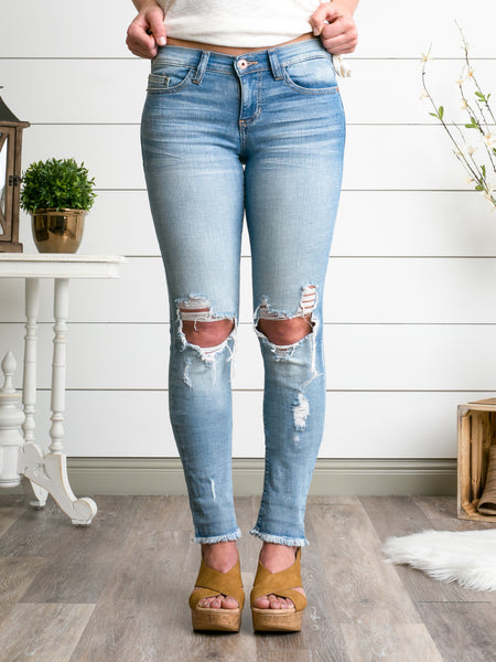 Blair Destroyed Skinny Jeans - Light Wash