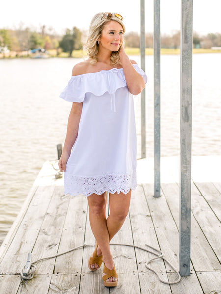 Bardot Off-Shoulder Dress - White