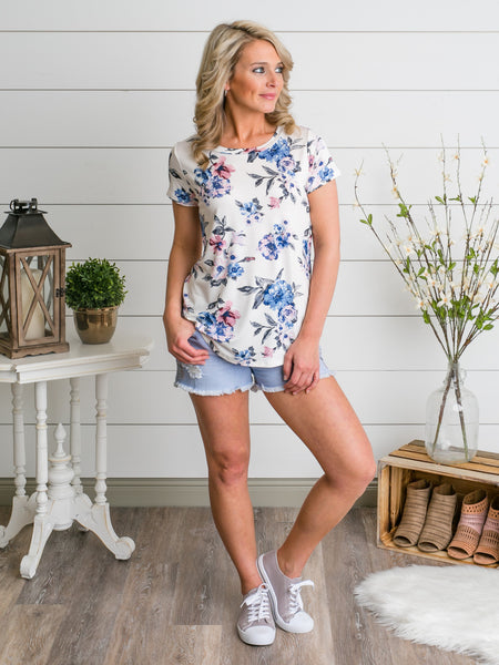 Blissful Blossom Top - White
