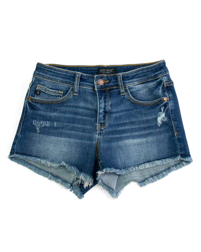 JoJo Distressed Shorts - Dark Wash