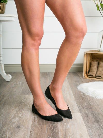 Lottie Pointed-Toe Flats - Black