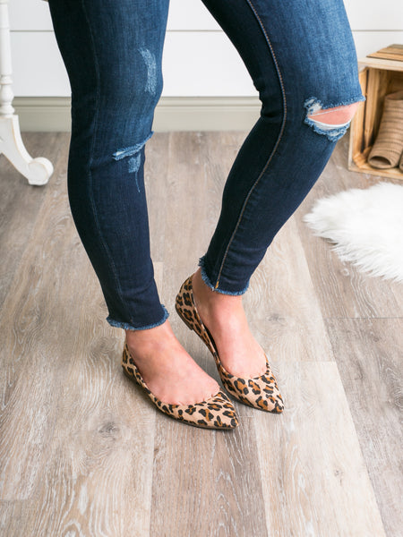 Lottie Pointed-Toe Flats - Leopard