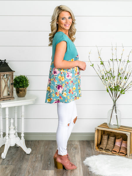 Friendly Floral Tunic - Teal
