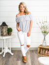 Knot-ical Off-Shoulder Top - Grey/White