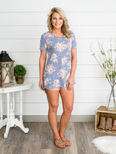 Nothing But Flowers Pocket Top - Heather Blue