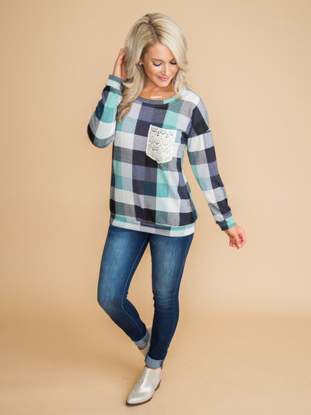 I Have Hope Plaid Lace Pocket Top - Navy