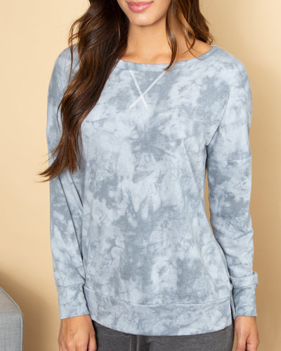 I Know You Best Tie Dye Pullover - Dusty Blue