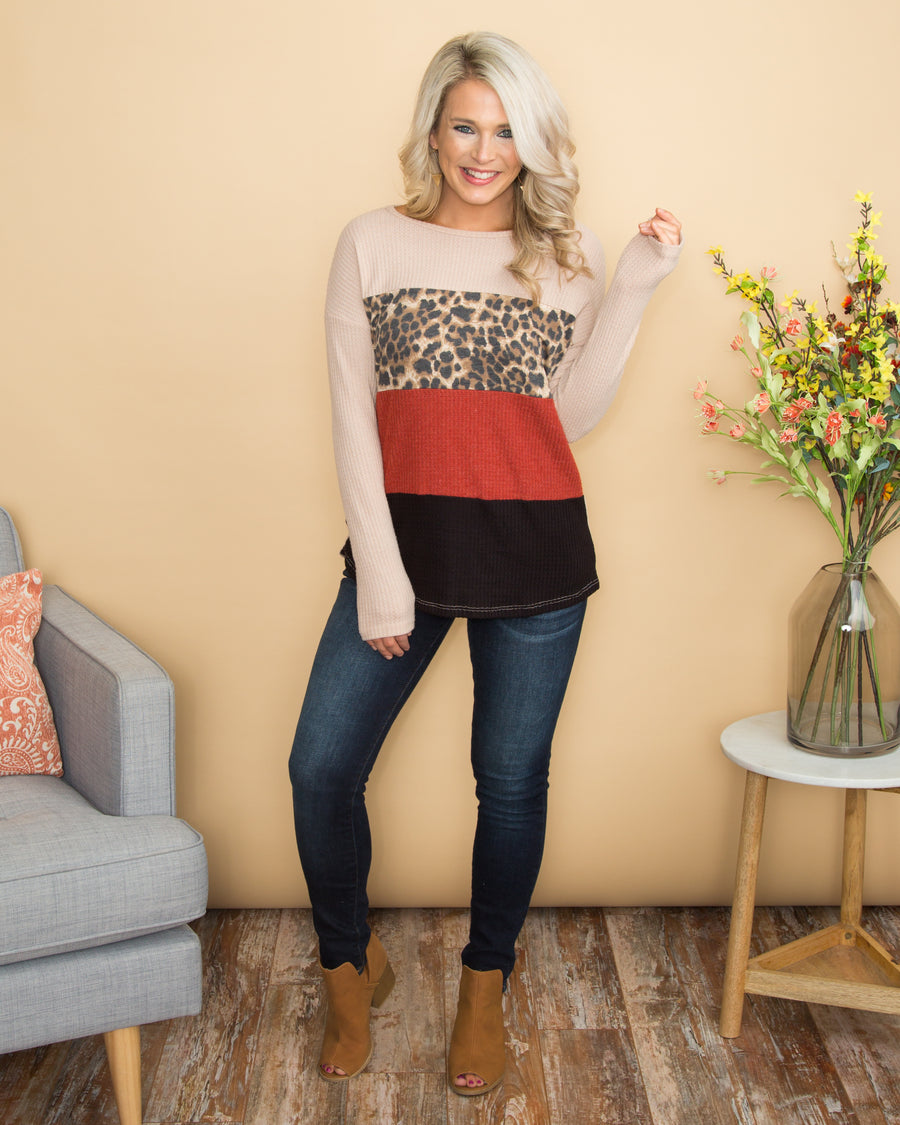 I'll Choose You Color-Block Leopard Waffle Knit Top - Taupe