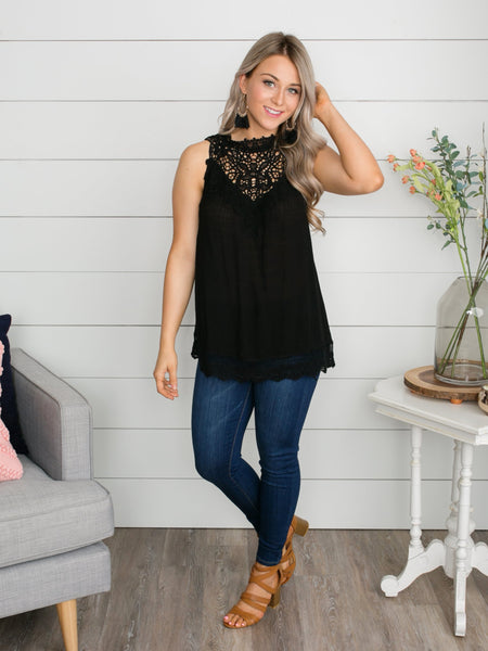 I'm All Yours Lace Top - Black