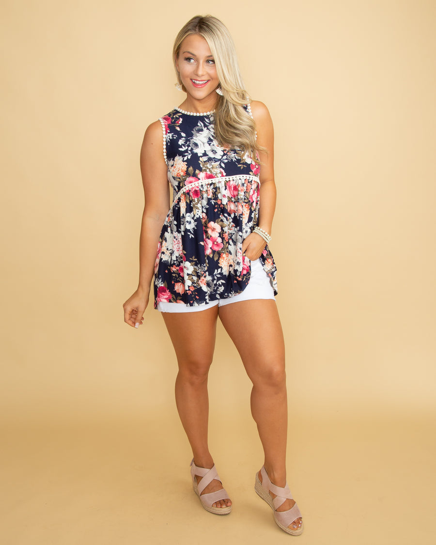 I'm Your Crush Floral Tank - Navy