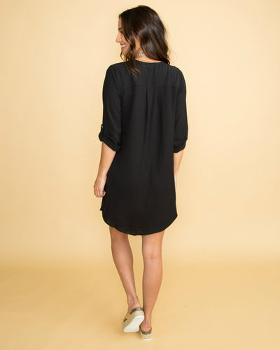 I've Been Dreaming Button Dress - Black