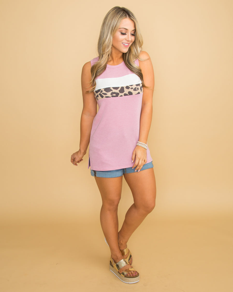 I've Got A Sweet Tooth Color-Block Tank - Mauve
