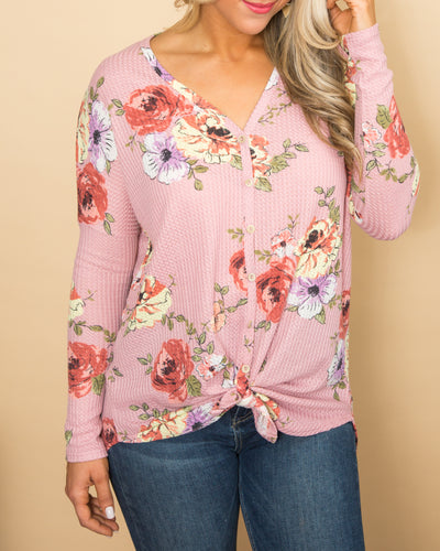 I've Got My Dreams Waffle Knit Floral Button Knot Top - Pink