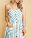 If I Only Knew Stripe Button Midi Dress - Sage