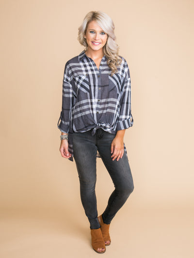 If Only With You Oversized Plaid Top - Charcoal