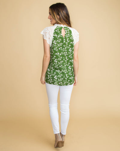 If This Is Paradise Lace Floral Top - Green