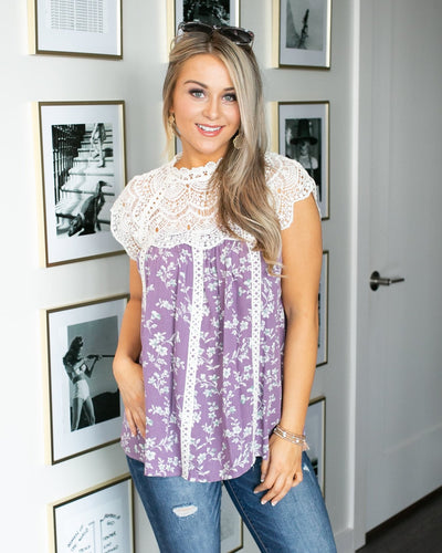 If This Is Paradise Lace Floral Top  - Purple