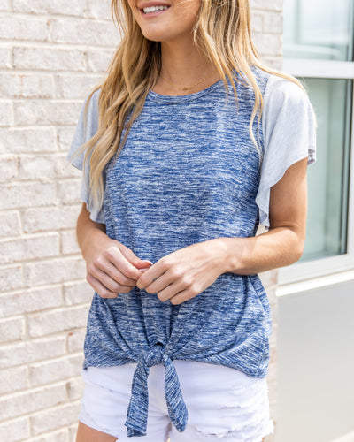 In It To Win It Top - Heathered Navy