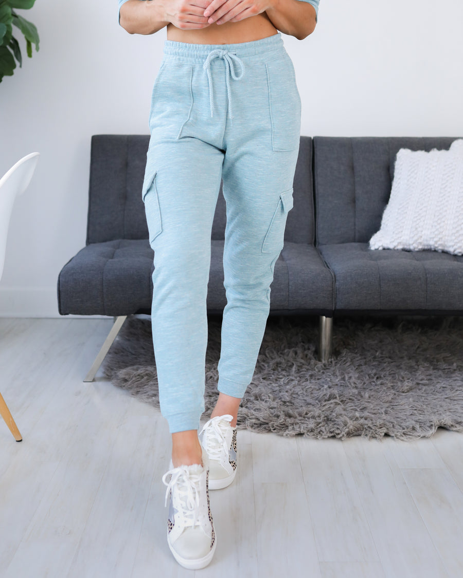 In Lounge Mode Cargo Joggers - Sky Blue