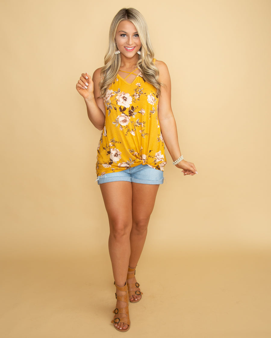In A  Moment Of Love Floral Knot Top - Mustard