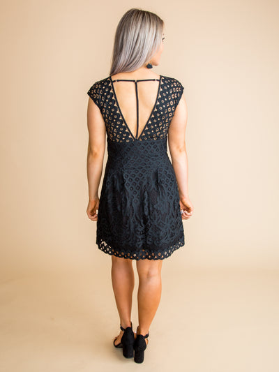 In Every Moment Lace Dress - Black