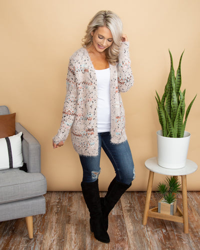 In Knit To Win It Cardigan - Blush