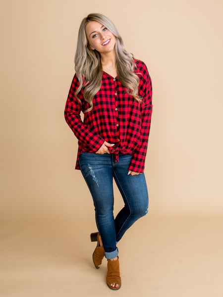 In My Confidence Plaid Button Down Knot Tunic - Red