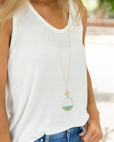 Indie Beaded Necklace - Mint