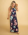Inspired Kindness Floral Maxi - Navy