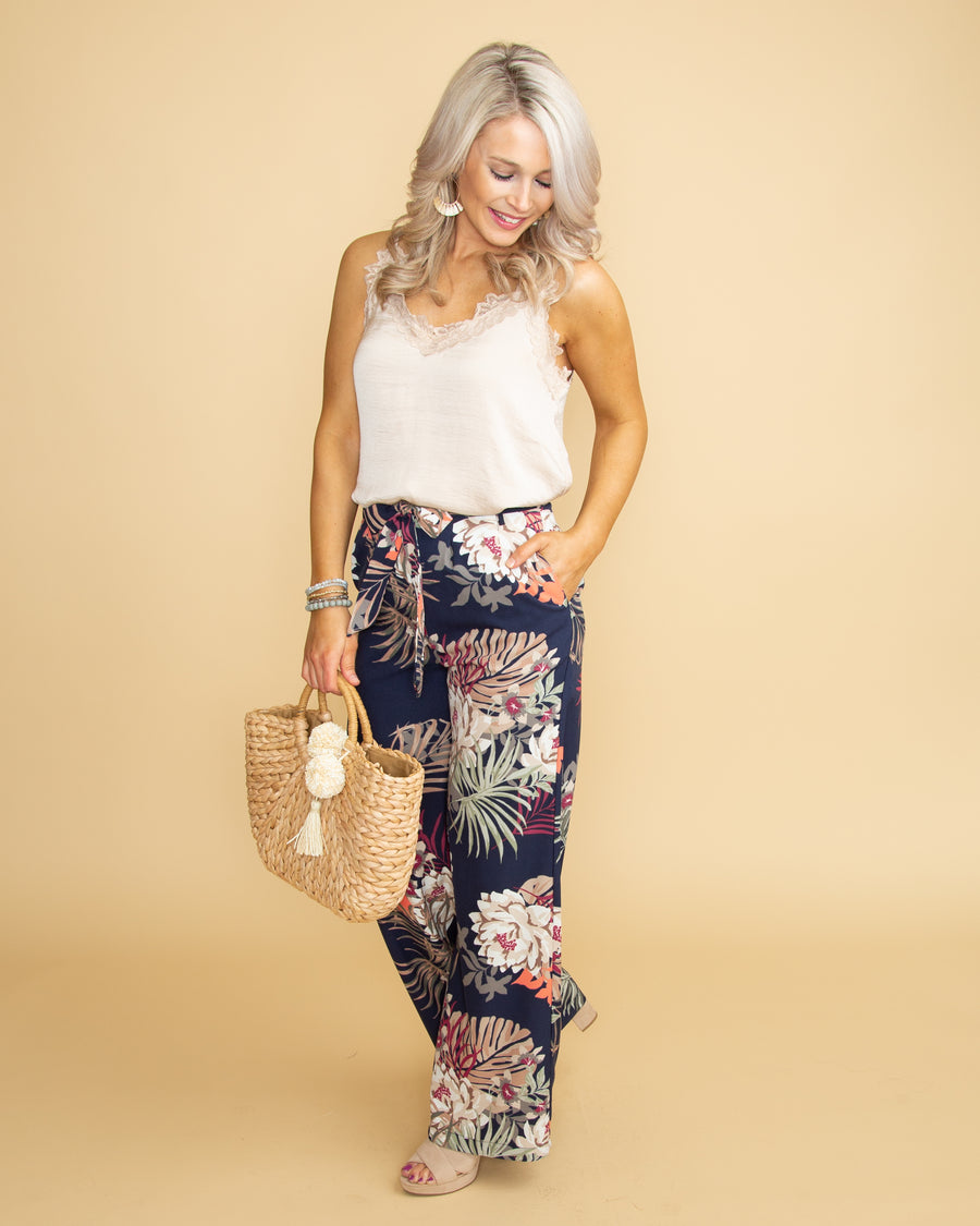 Island Bliss Floral Pants - Navy