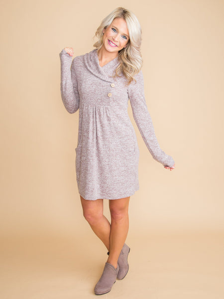 It Feels Right Button Dress - Heather Mauve