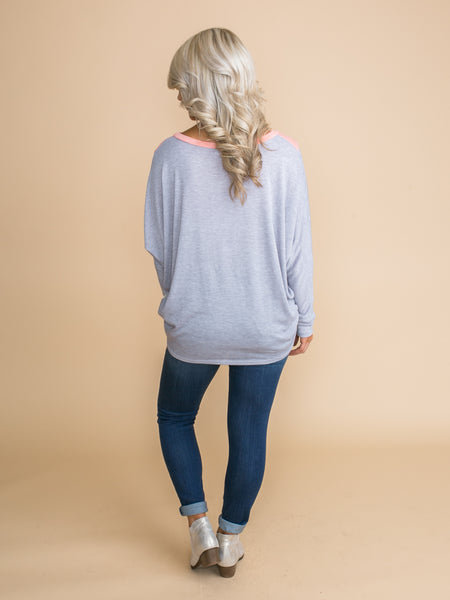 It Just So Happens Color-Block Top - Lt Grey