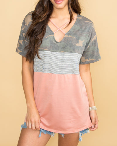 It Was Love Color-Block Criss Cross Top - Camo