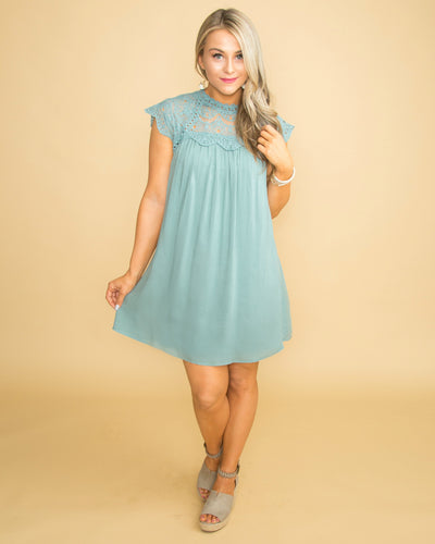 It's All In Love Lace Dress - Sage