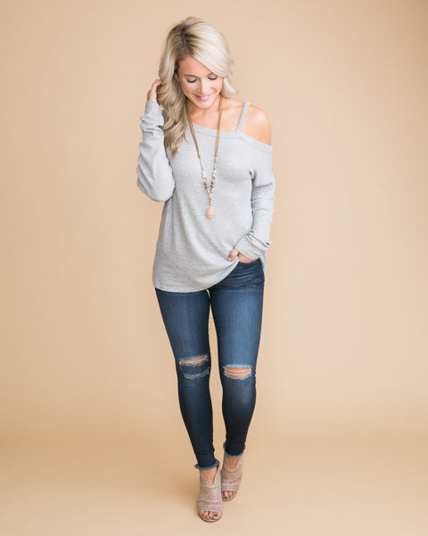 It's Everything I Wanted One-Shoulder Waffle Knit Top - Grey
