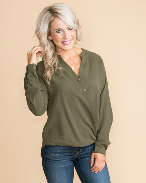 It's Just Business Draped Button Top - Olive