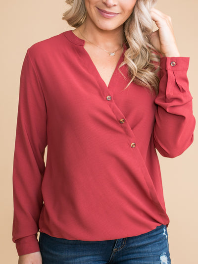 It's Just Business Draped Button Top - Red