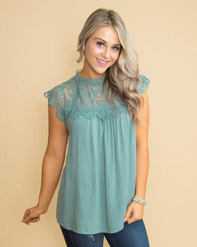 It's Not Complicated Lace Top - Dusty Sage