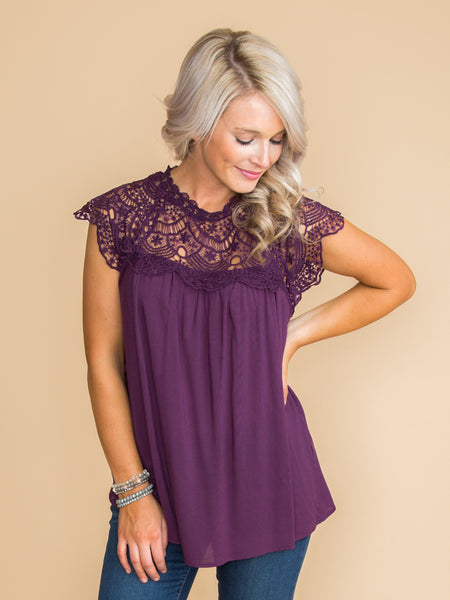 It's Not Complicated Lace Top - Plum