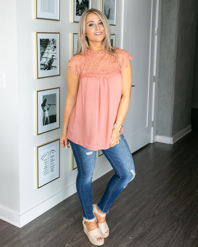 It's Not Complicated Lace Top - Salmon