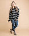 It's Social Stripe Knot Top - Charcoal