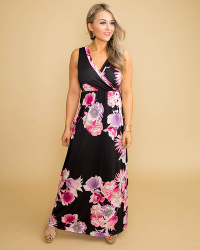 It's Us Forever Floral Maxi Dress - Black