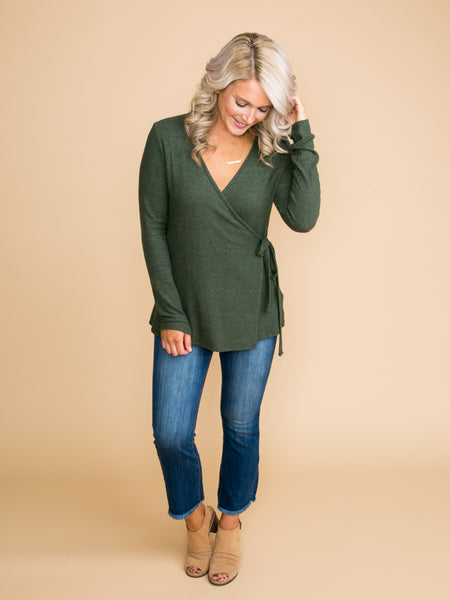 It's Well Known Wrap Top - Hunter Green