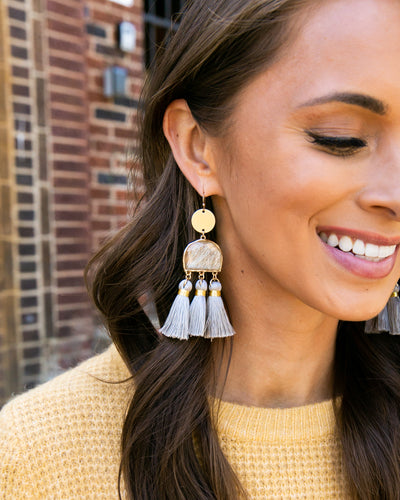 Jamie Tassel Statement Earring - Grey