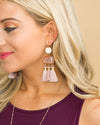 Jamie Tassel Statement Earring - Pink