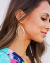 Janie Double Hoop Earrings - White/Gold