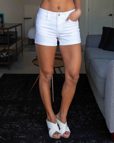 Jessie Distressed Shorts - White